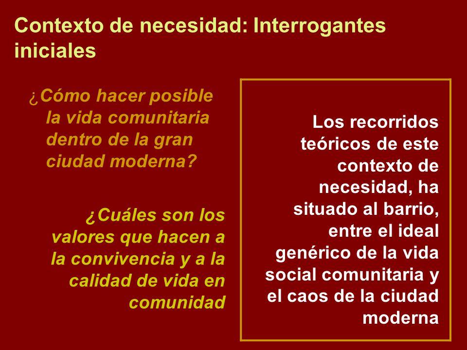 Contexto de necesidad: Interrogantes iniciales ¿Cómo hacer posible la vida comunitaria dentro de la gran ciudad moderna? ¿Cuáles son los valores que h