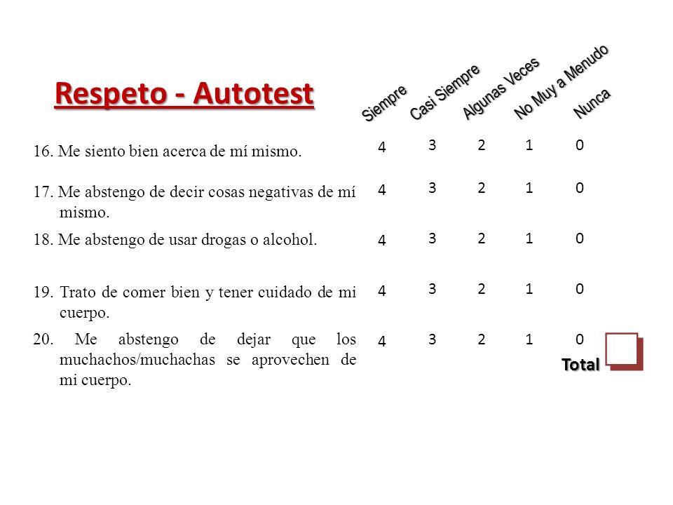 Respeto - Autotest Siempre Casi Siempre Algunas Veces No Muy a Menudo Nunca 4444444444 3333333333 2222222222 1111111111 0000000000 Total 16.
