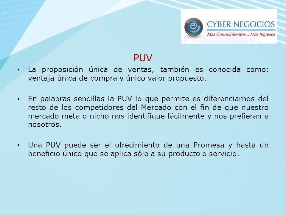 Historia de PUV Las PUV's comenzaron a desarrollarse en el final de la década de 1950 y en los comienzos de 1960 por Rosser Reeves. A través de las dé