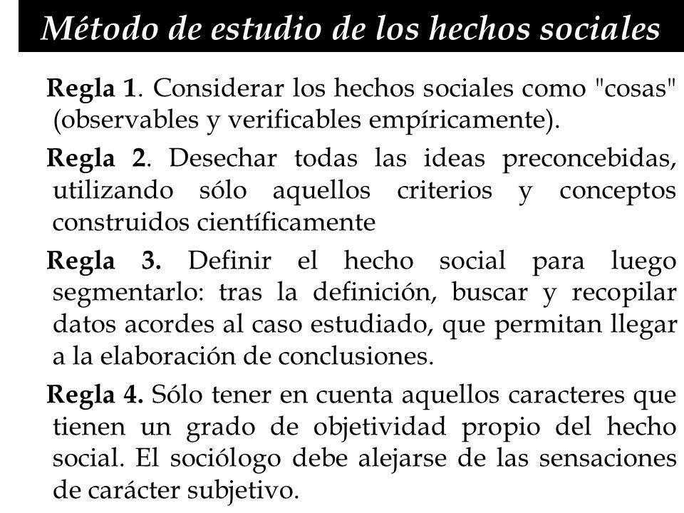 Método de estudio de los hechos sociales Regla 1. Considerar los hechos sociales como