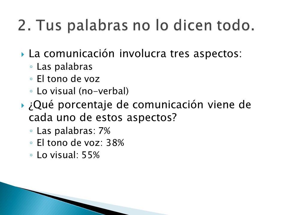 La comunicación involucra tres aspectos: Las palabras El tono de voz Lo visual (no-verbal) ¿Qué porcentaje de comunicación viene de cada uno de estos