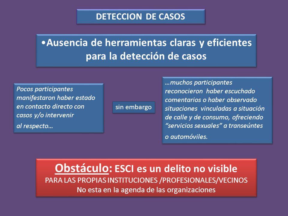 …siempre nos es mas fácil detectar la adicción al consumo, la situación de calle y/o el abuso sexual intrafamiliar; apareciendo mas tarde la problemática de ESCI.