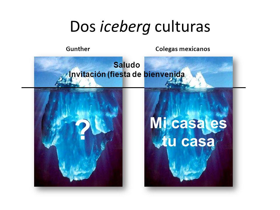 Dos iceberg culturas ? __________________________________________________________ GuntherColegas mexicanos Saludo Invitación (fiesta de bienvenida Mi