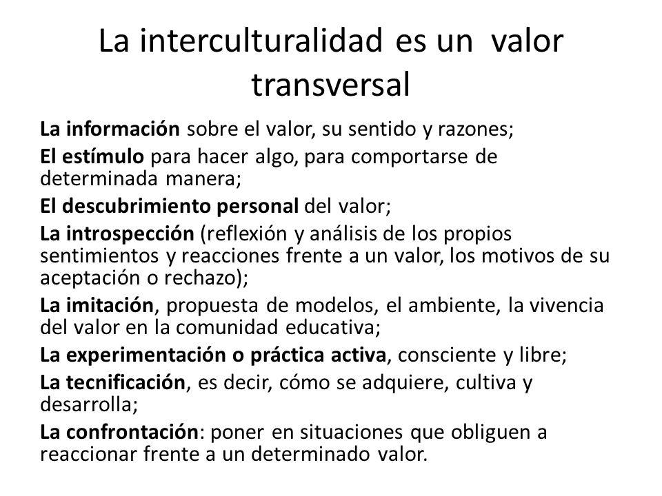La interculturalidad es un valor transversal La información sobre el valor, su sentido y razones; El estímulo para hacer algo, para comportarse de det
