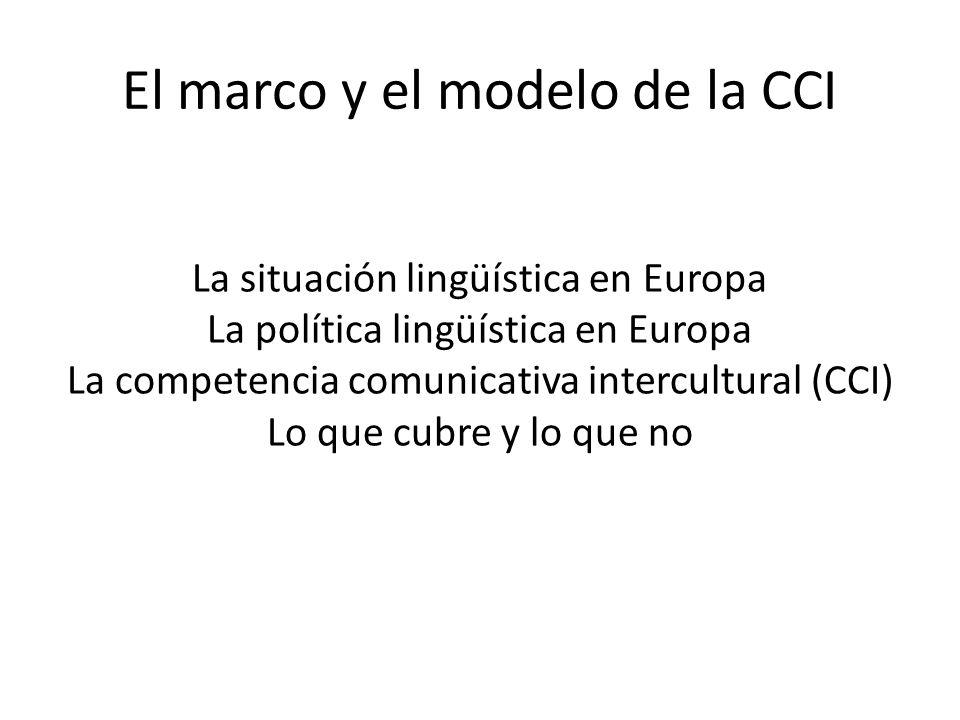 El marco y el modelo de la CCI La situación lingüística en Europa La política lingüística en Europa La competencia comunicativa intercultural (CCI) Lo