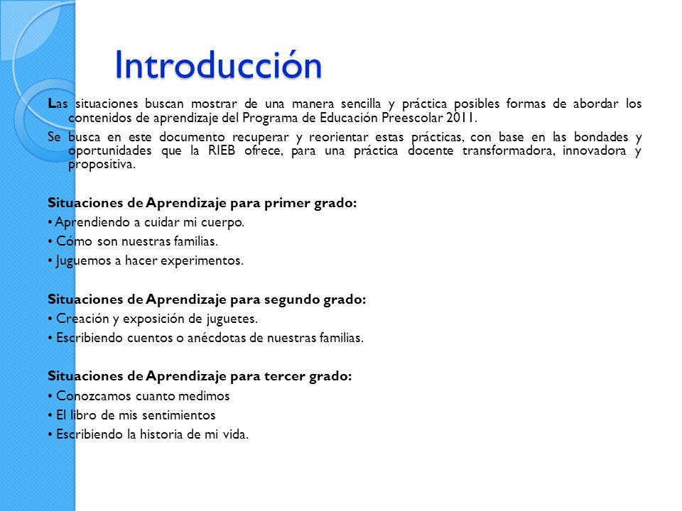 Introducción Las situaciones buscan mostrar de una manera sencilla y práctica posibles formas de abordar los contenidos de aprendizaje del Programa de Educación Preescolar 2011.