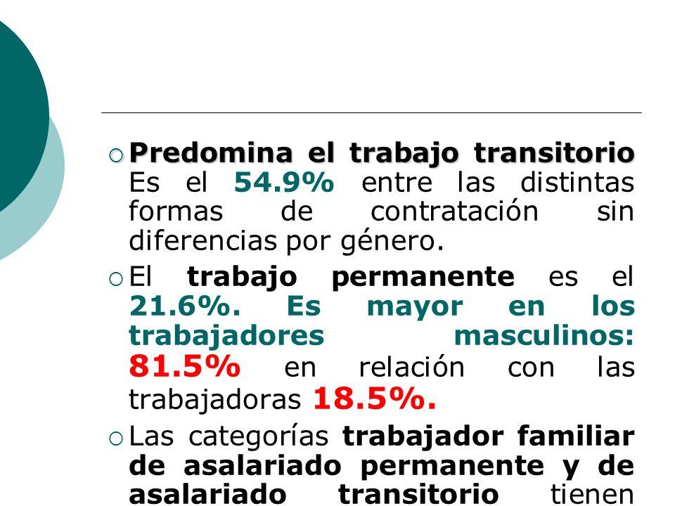 Predomina el trabajo transitorio Predomina el trabajo transitorio Es el 54.9% entre las distintas formas de contratación sin diferencias por género.