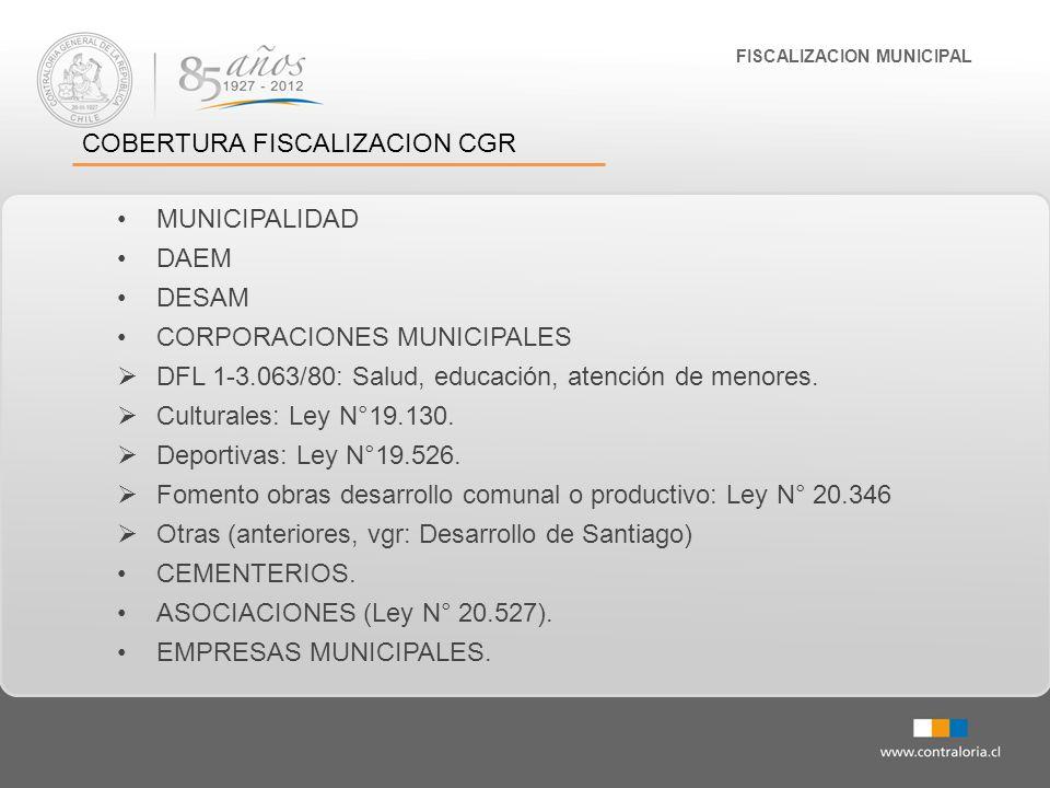 FISCALIZACION MUNICIPAL COBERTURA FISCALIZACION CGR MUNICIPALIDAD DAEM DESAM CORPORACIONES MUNICIPALES DFL 1-3.063/80: Salud, educación, atención de m