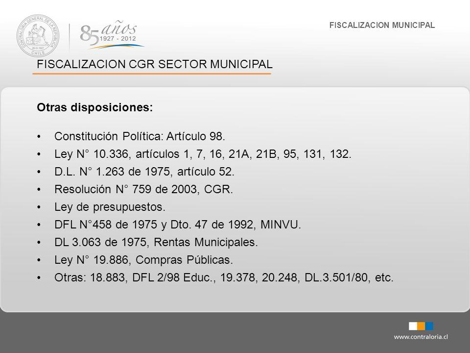 FISCALIZACION MUNICIPAL FISCALIZACION CGR SECTOR MUNICIPAL Otras disposiciones: Constitución Política: Artículo 98. Ley N° 10.336, artículos 1, 7, 16,