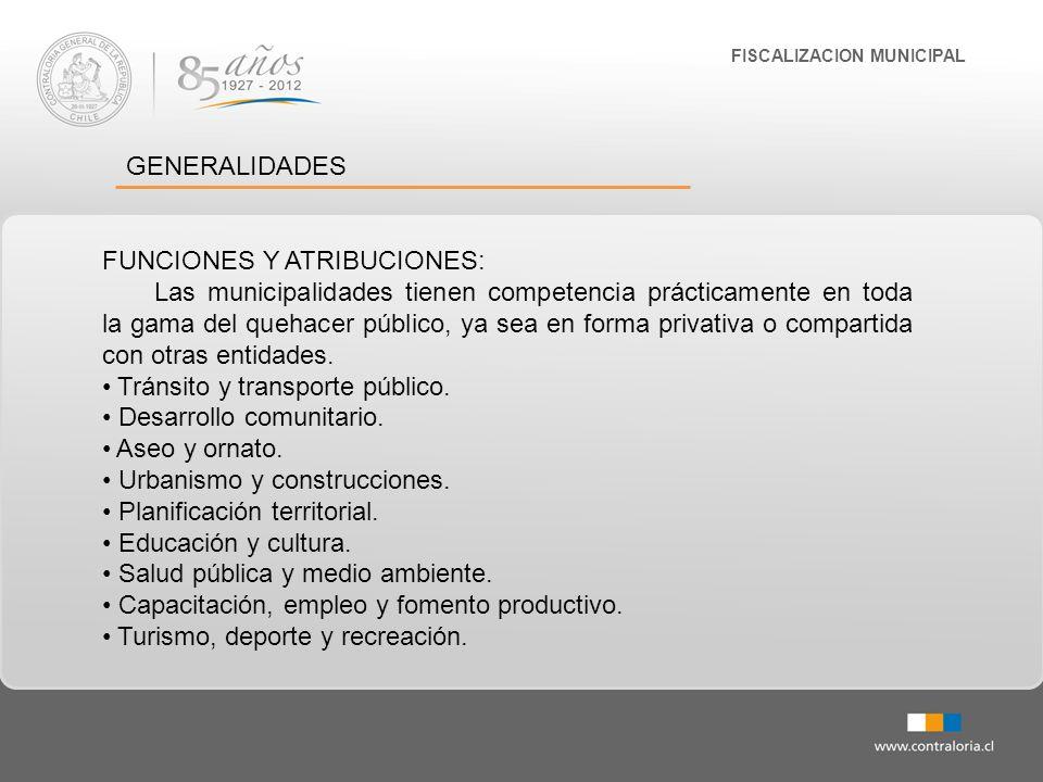 FISCALIZACION MUNICIPAL GENERALIDADES FUNCIONES Y ATRIBUCIONES: Construcción de viviendas sociales e infraestructura sanitaria.