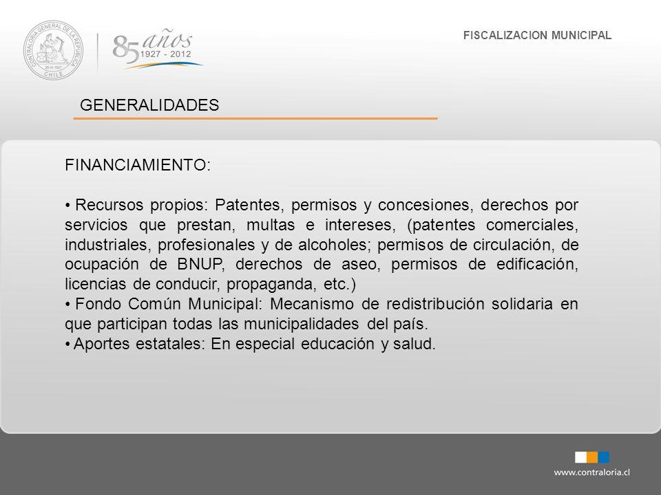 FISCALIZACION MUNICIPAL GENERALIDADES FINANCIAMIENTO: Recursos propios: Patentes, permisos y concesiones, derechos por servicios que prestan, multas e
