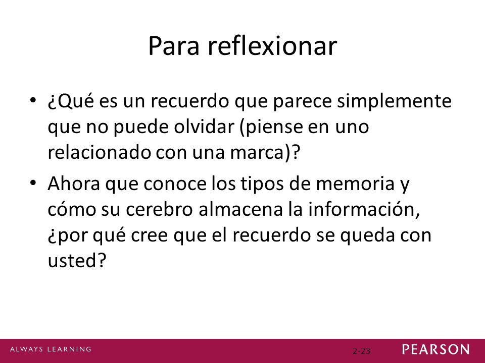 Para reflexionar ¿Qué es un recuerdo que parece simplemente que no puede olvidar (piense en uno relacionado con una marca)? Ahora que conoce los tipos
