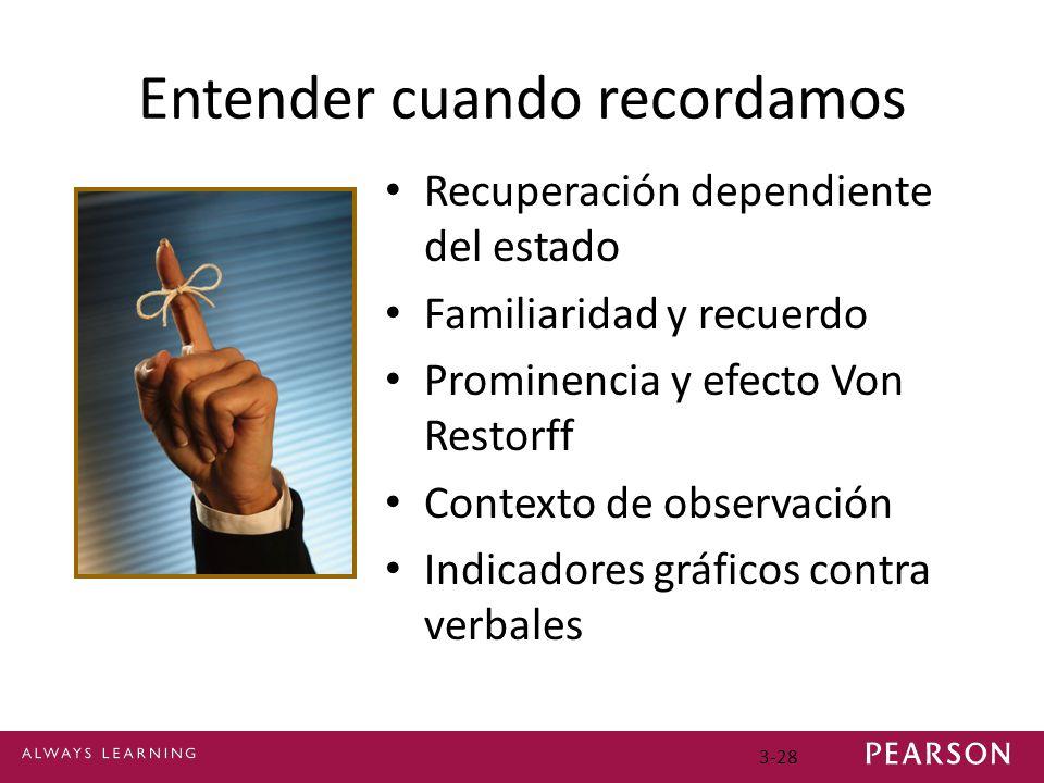 3-28 Entender cuando recordamos Recuperación dependiente del estado Familiaridad y recuerdo Prominencia y efecto Von Restorff Contexto de observación