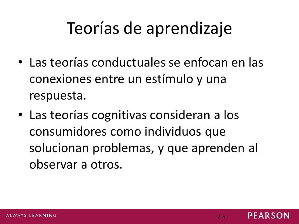 Teorías de aprendizaje Las teorías conductuales se enfocan en las conexiones entre un estímulo y una respuesta. Las teorías cognitivas consideran a lo