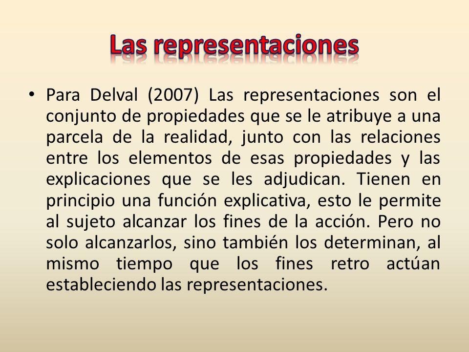 Para Delval (2007) Las representaciones son el conjunto de propiedades que se le atribuye a una parcela de la realidad, junto con las relaciones entre