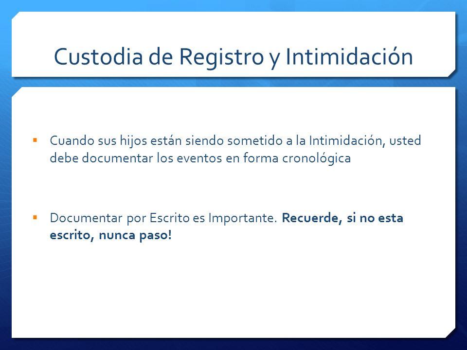 Custodia de Registro y Intimidación Cuando sus hijos están siendo sometido a la Intimidación, usted debe documentar los eventos en forma cronológica D