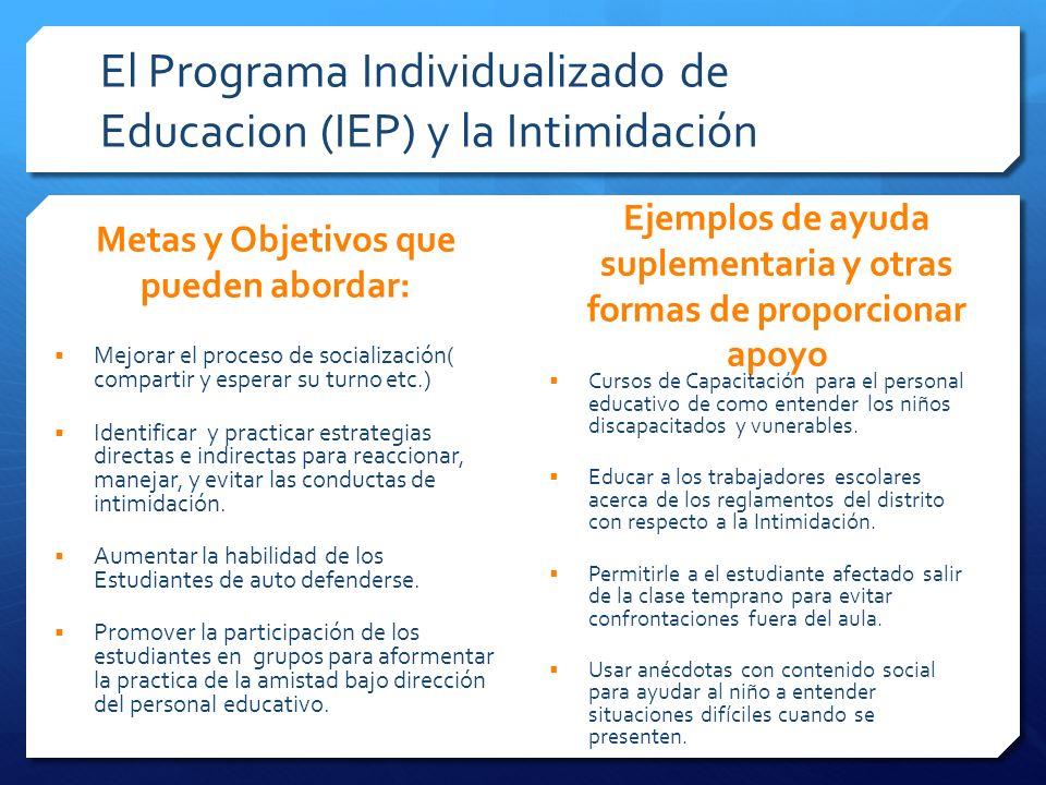 El Programa Individualizado de Educacion (IEP) y la Intimidación Metas y Objetivos que pueden abordar: Mejorar el proceso de socialización( compartir