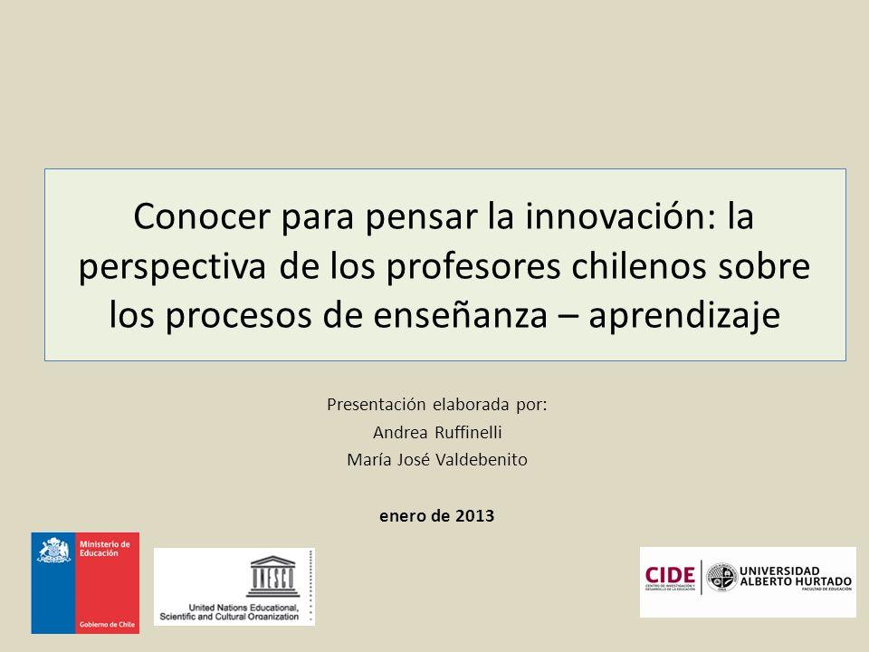Conocer para pensar la innovación: la perspectiva de los profesores chilenos sobre los procesos de enseñanza – aprendizaje Presentación elaborada por: