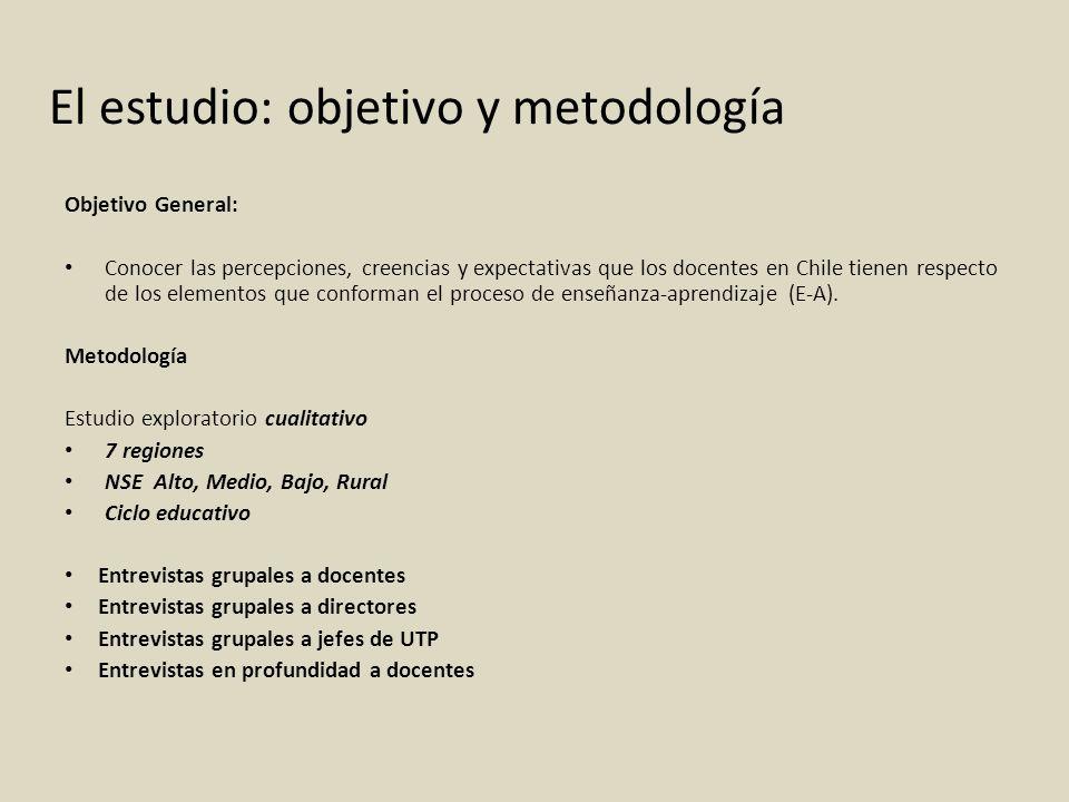 El estudio: objetivo y metodología Objetivo General: Conocer las percepciones, creencias y expectativas que los docentes en Chile tienen respecto de l