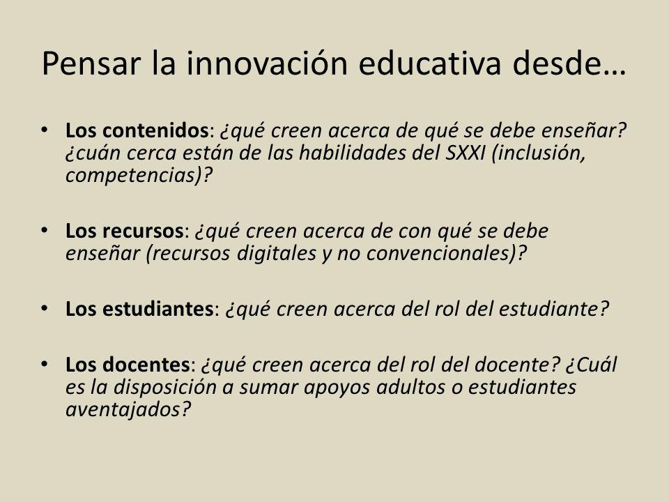 Pensar la innovación educativa desde… Los contenidos: ¿qué creen acerca de qué se debe enseñar? ¿cuán cerca están de las habilidades del SXXI (inclusi