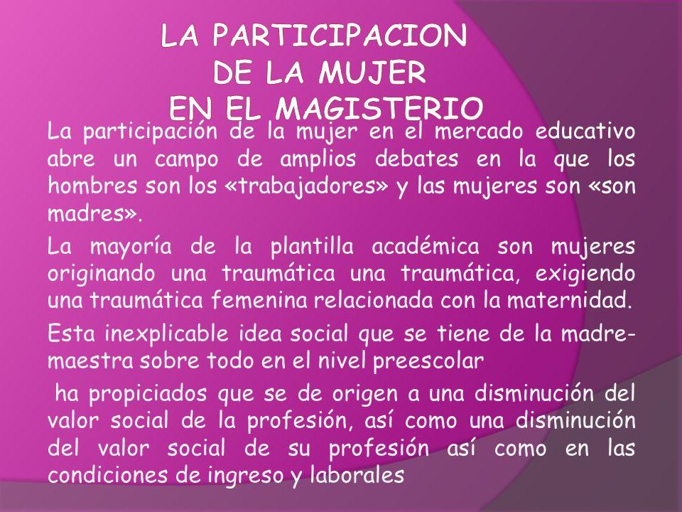 La participación de la mujer en el mercado educativo abre un campo de amplios debates en la que los hombres son los «trabajadores» y las mujeres son «