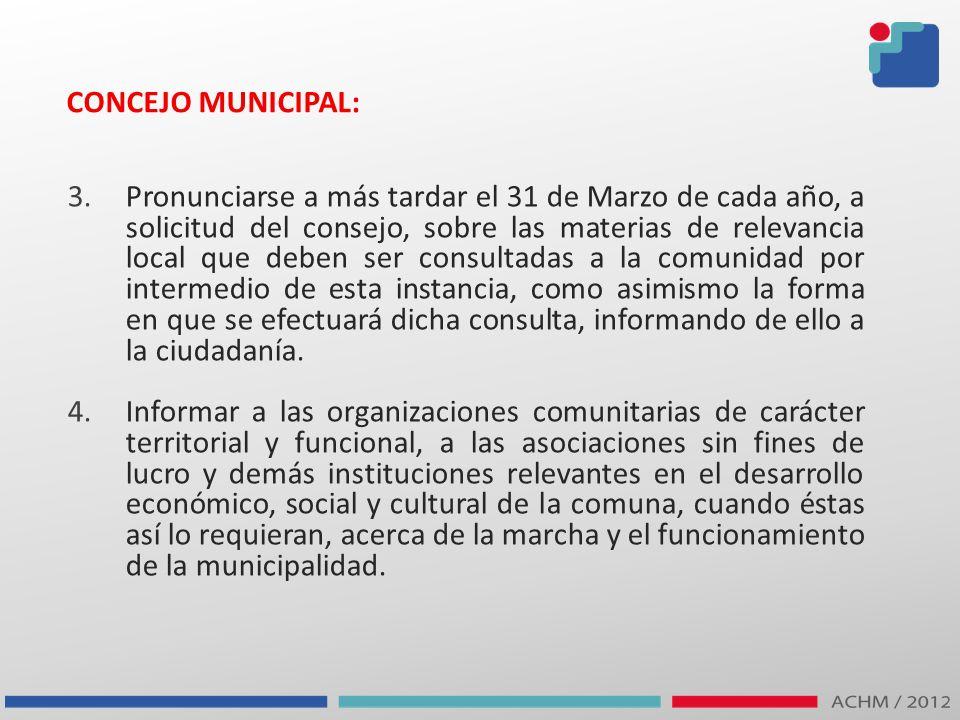 CONCEJO MUNICIPAL: 3.Pronunciarse a más tardar el 31 de Marzo de cada año, a solicitud del consejo, sobre las materias de relevancia local que deben s