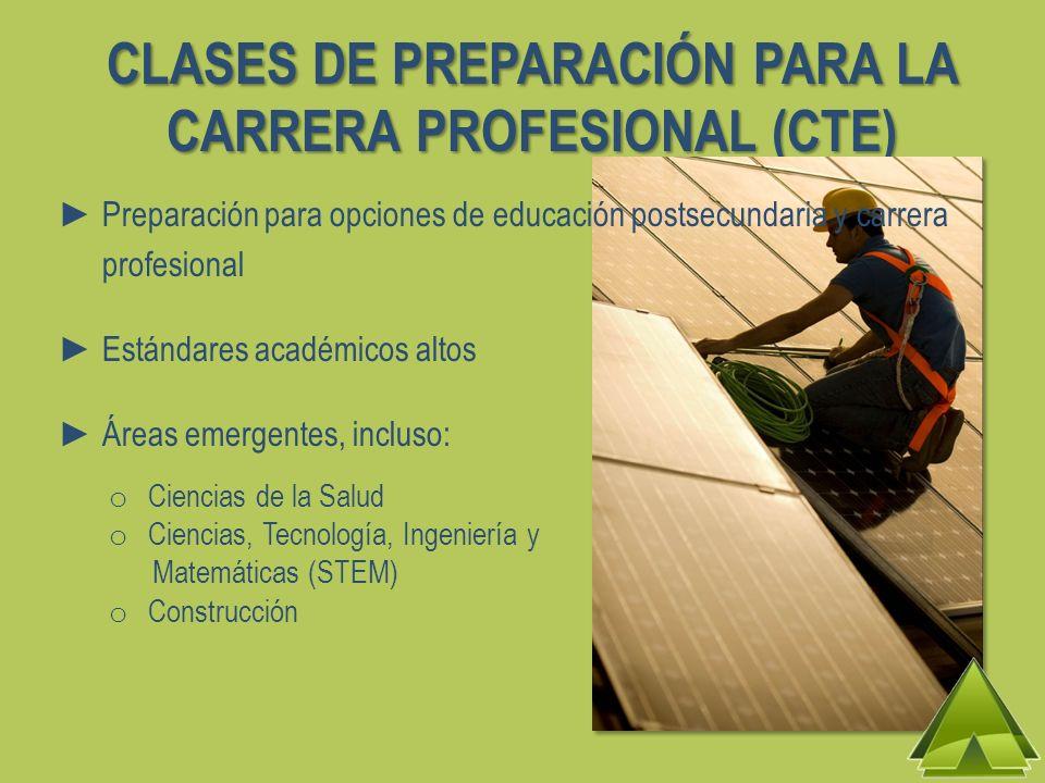 CLASES DE PREPARACIÓN PARA LA CARRERA PROFESIONAL (CTE) Preparación para opciones de educación postsecundaria y carrera profesional Estándares académi