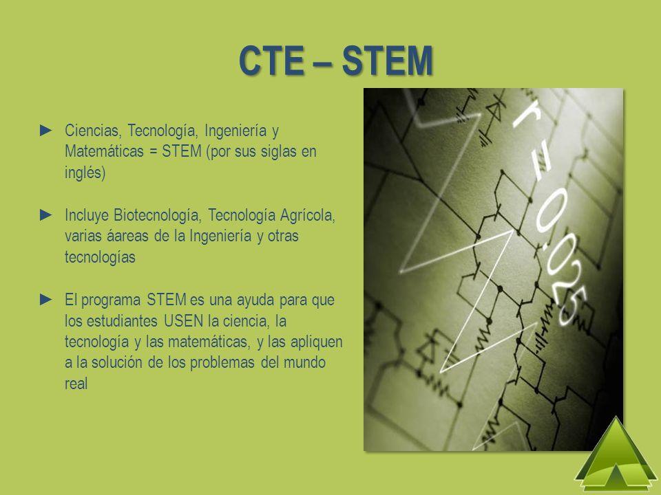 CTE – STEM Ciencias, Tecnología, Ingeniería y Matemáticas = STEM (por sus siglas en inglés) Incluye Biotecnología, Tecnología Agrícola, varias áareas de la Ingeniería y otras tecnologías El programa STEM es una ayuda para que los estudiantes USEN la ciencia, la tecnología y las matemáticas, y las apliquen a la solución de los problemas del mundo real