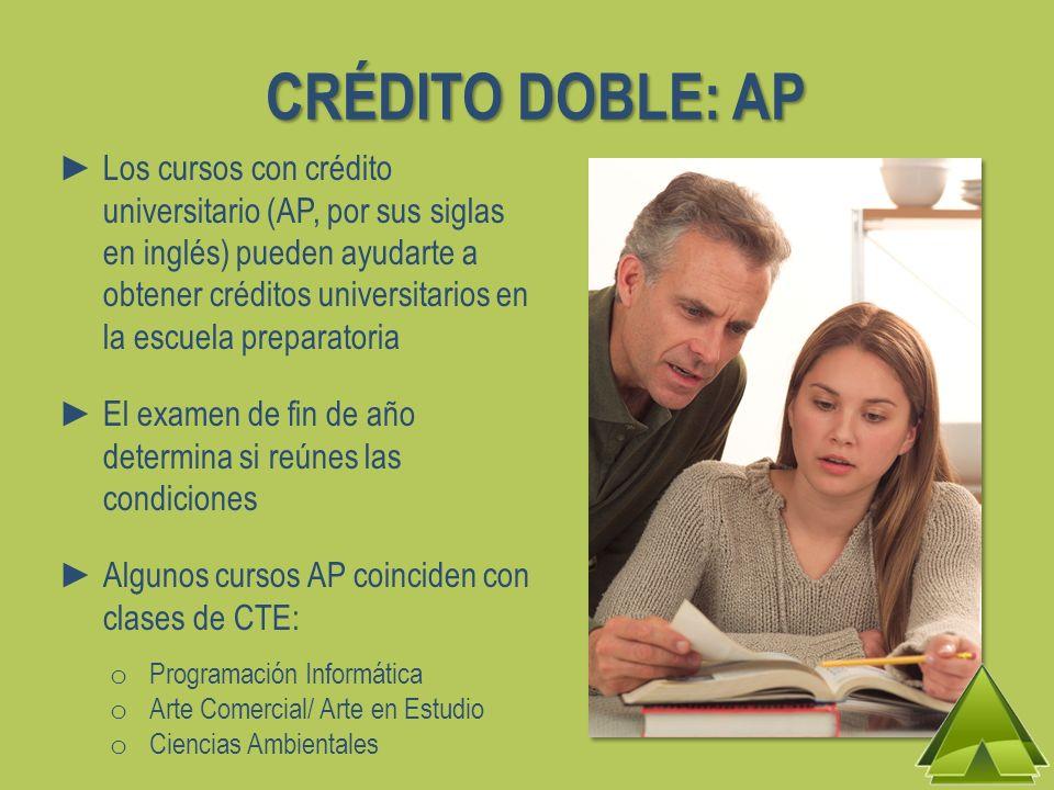 CRÉDITO DOBLE: AP Los cursos con crédito universitario (AP, por sus siglas en inglés) pueden ayudarte a obtener créditos universitarios en la escuela