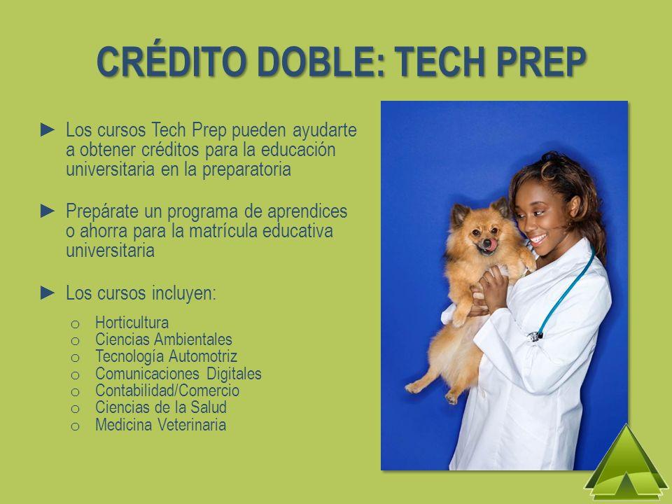 CRÉDITO DOBLE: TECH PREP Los cursos Tech Prep pueden ayudarte a obtener créditos para la educación universitaria en la preparatoria Prepárate un progr