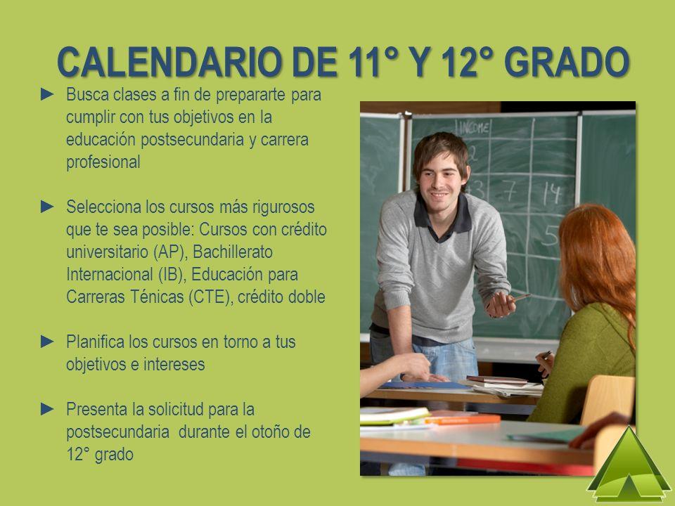 CALENDARIO DE 11° Y 12° GRADO Busca clases a fin de prepararte para cumplir con tus objetivos en la educación postsecundaria y carrera profesional Sel