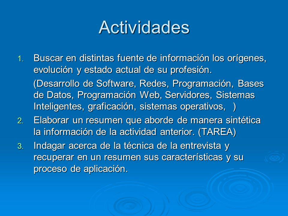 Actividades 1. Buscar en distintas fuente de información los orígenes, evolución y estado actual de su profesión. (Desarrollo de Software, Redes, Prog