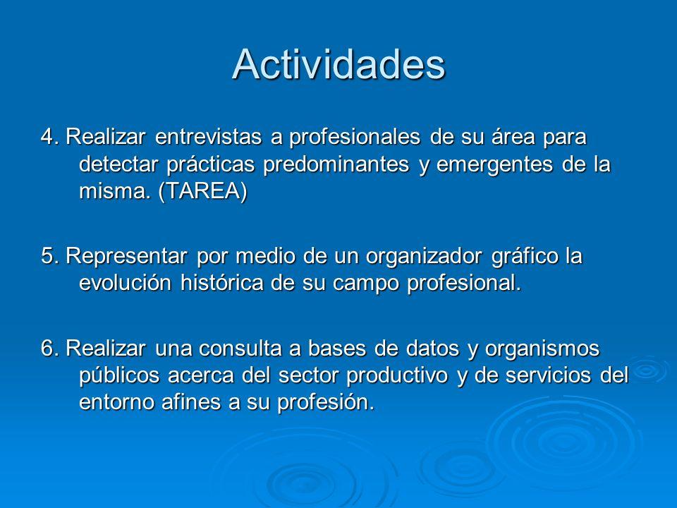 4. Realizar entrevistas a profesionales de su área para detectar prácticas predominantes y emergentes de la misma. (TAREA) 5. Representar por medio de