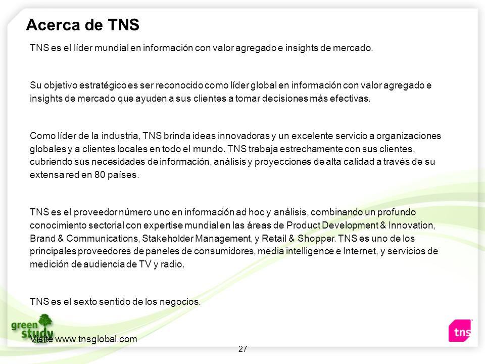 27 Acerca de TNS TNS es el líder mundial en información con valor agregado e insights de mercado. Su objetivo estratégico es ser reconocido como líder