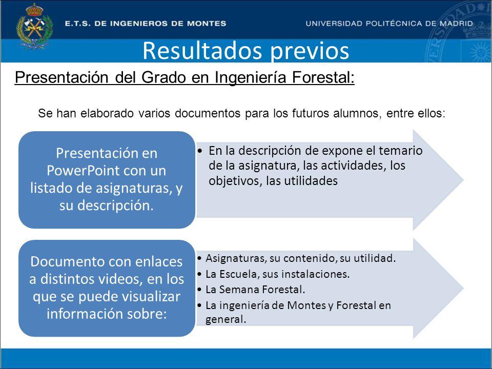 Resultados previos Presentación del Grado en Ingeniería Forestal: Se han elaborado varios documentos para los futuros alumnos, entre ellos: En la desc