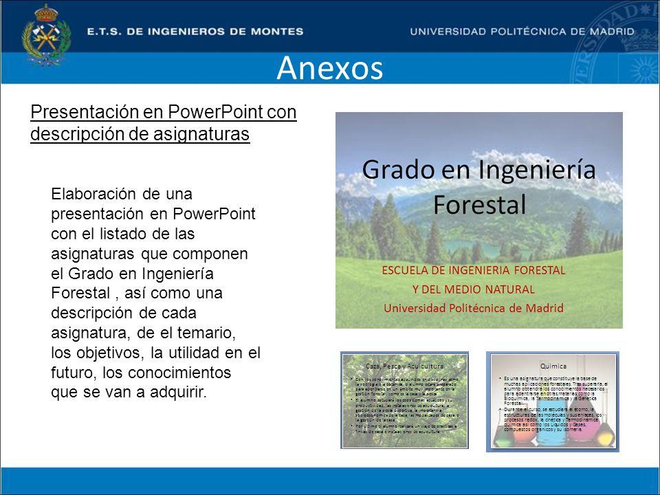 Anexos Elaboración de una presentación en PowerPoint con el listado de las asignaturas que componen el Grado en Ingeniería Forestal, así como una desc