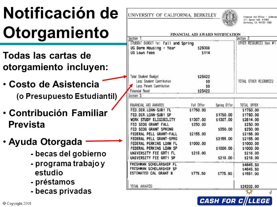 Copyright 2008 4 Notificación de Otorgamiento Todas las cartas de otorgamiento incluyen: Costo de Asistencia (o Presupuesto Estudiantil) Contribución