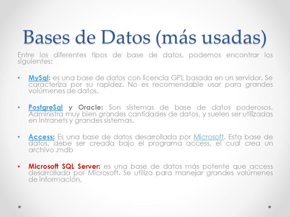 Bases de Datos (más usadas) Entre los diferentes tipos de base de datos, podemos encontrar los siguientes: MySql: es una base de datos con licencia GP