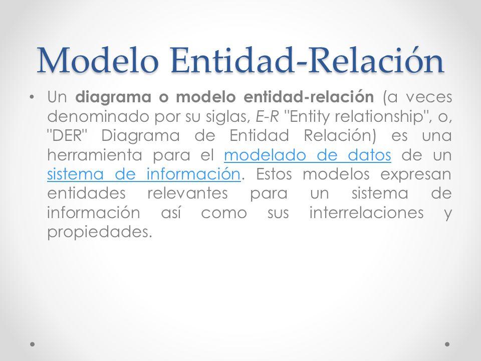 Modelo Entidad-Relación Un diagrama o modelo entidad-relación (a veces denominado por su siglas, E-R
