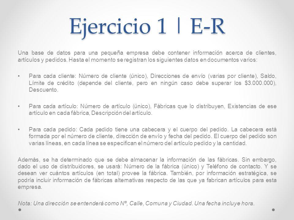 Ejercicio 1 | E-R Una base de datos para una pequeña empresa debe contener información acerca de clientes, artículos y pedidos. Hasta el momento se re