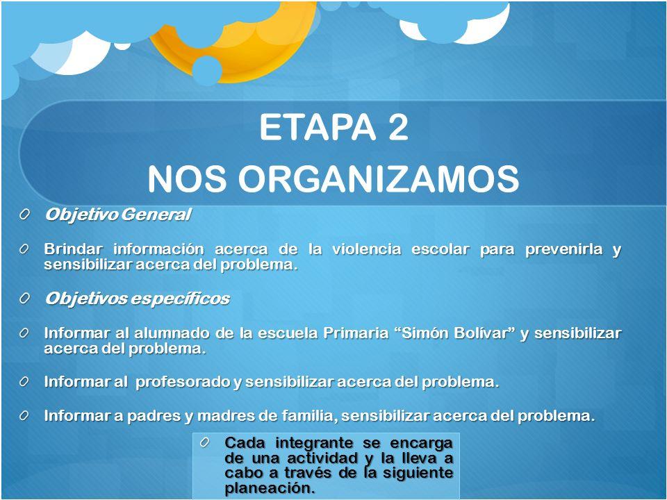 ETAPA 2 NOS ORGANIZAMOS Objetivo General Brindar información acerca de la violencia escolar para prevenirla y sensibilizar acerca del problema. Objeti