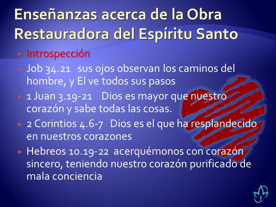 Introspección Introspección Job 34.21 sus ojos observan los caminos del hombre, y El ve todos sus pasos 1 Juan 3.19-21 Dios es mayor que nuestro coraz