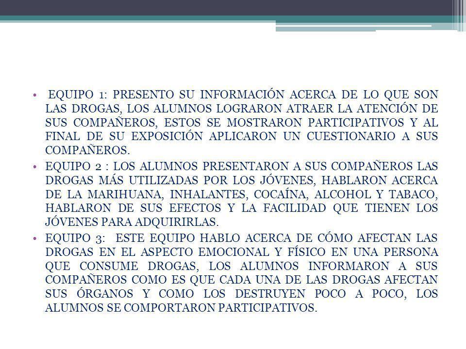 EQUIPO 1: PRESENTO SU INFORMACIÓN ACERCA DE LO QUE SON LAS DROGAS, LOS ALUMNOS LOGRARON ATRAER LA ATENCIÓN DE SUS COMPAÑEROS, ESTOS SE MOSTRARON PARTICIPATIVOS Y AL FINAL DE SU EXPOSICIÓN APLICARON UN CUESTIONARIO A SUS COMPAÑEROS.