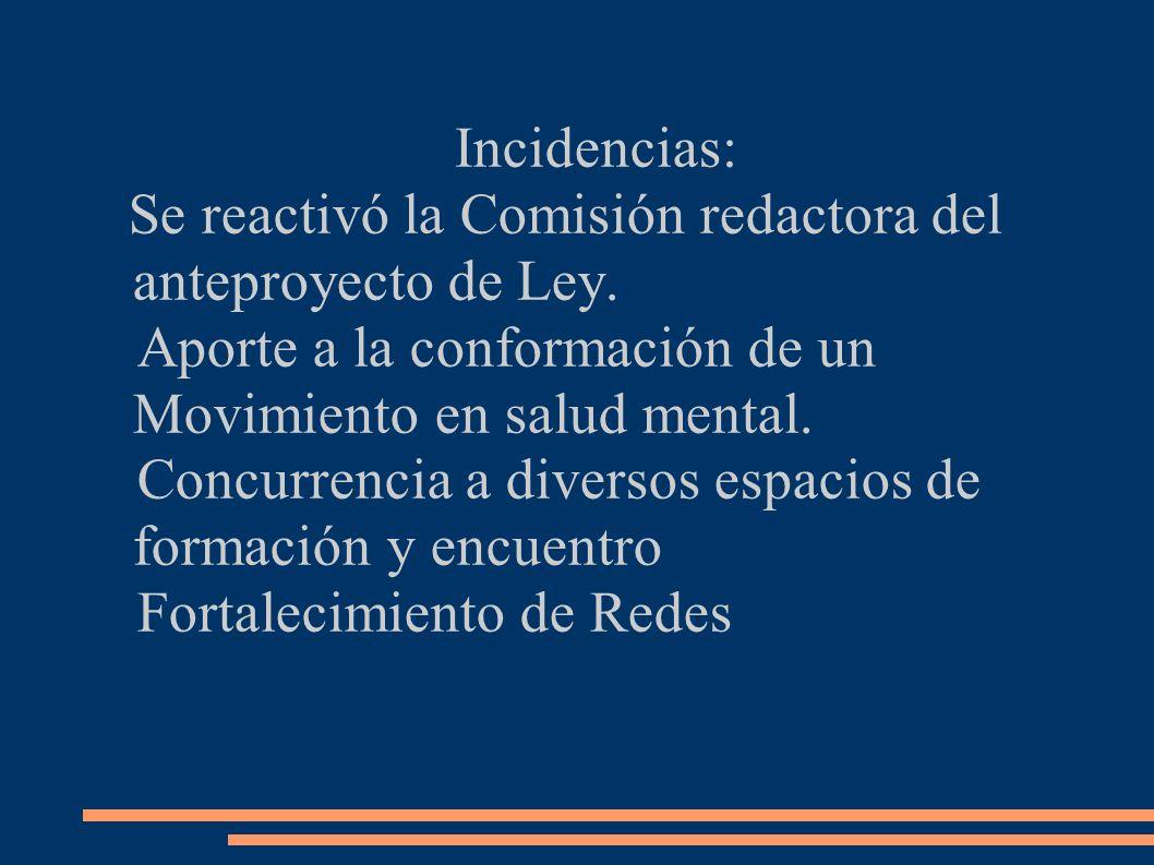 Incidencias: Se reactivó la Comisión redactora del anteproyecto de Ley.
