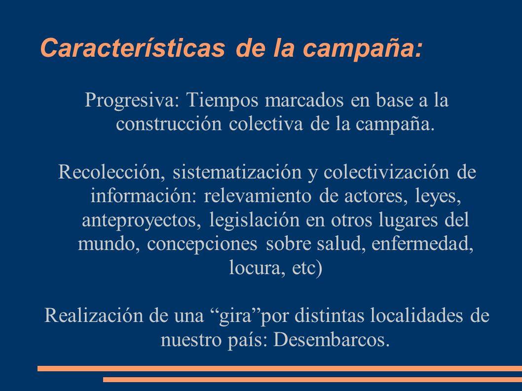 Características de la campaña: Progresiva: Tiempos marcados en base a la construcción colectiva de la campaña.