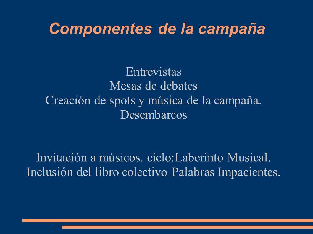 Componentes de la campaña Entrevistas Mesas de debates Creación de spots y música de la campaña.