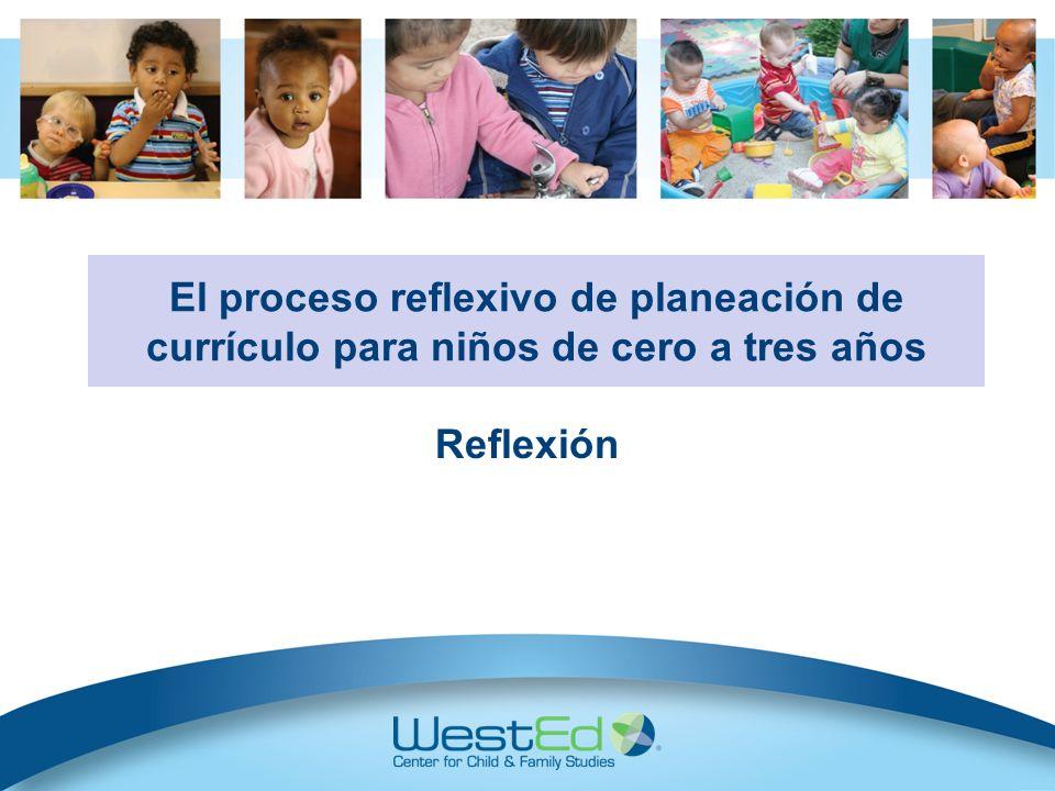 Reflexión Ayuda a los maestros de cuidado infantil a considerar si los cambios al ambiente o a las interacciones con los niños funcionaron o no: -¿Los cambios apoyaron a los niños individualmente.