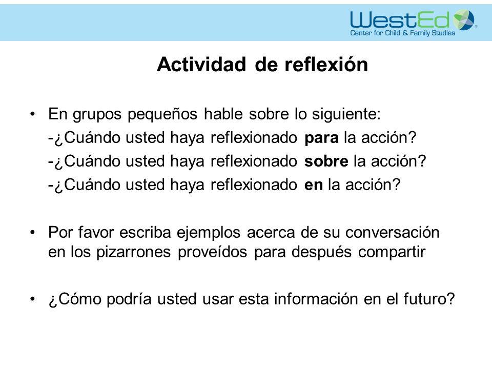 Actividad de reflexión En grupos pequeños hable sobre lo siguiente: -¿Cuándo usted haya reflexionado para la acción.