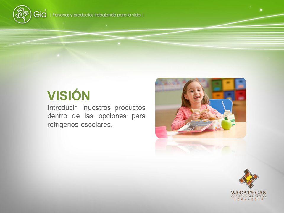 VISIÓN Introducir nuestros productos dentro de las opciones para refrigerios escolares.