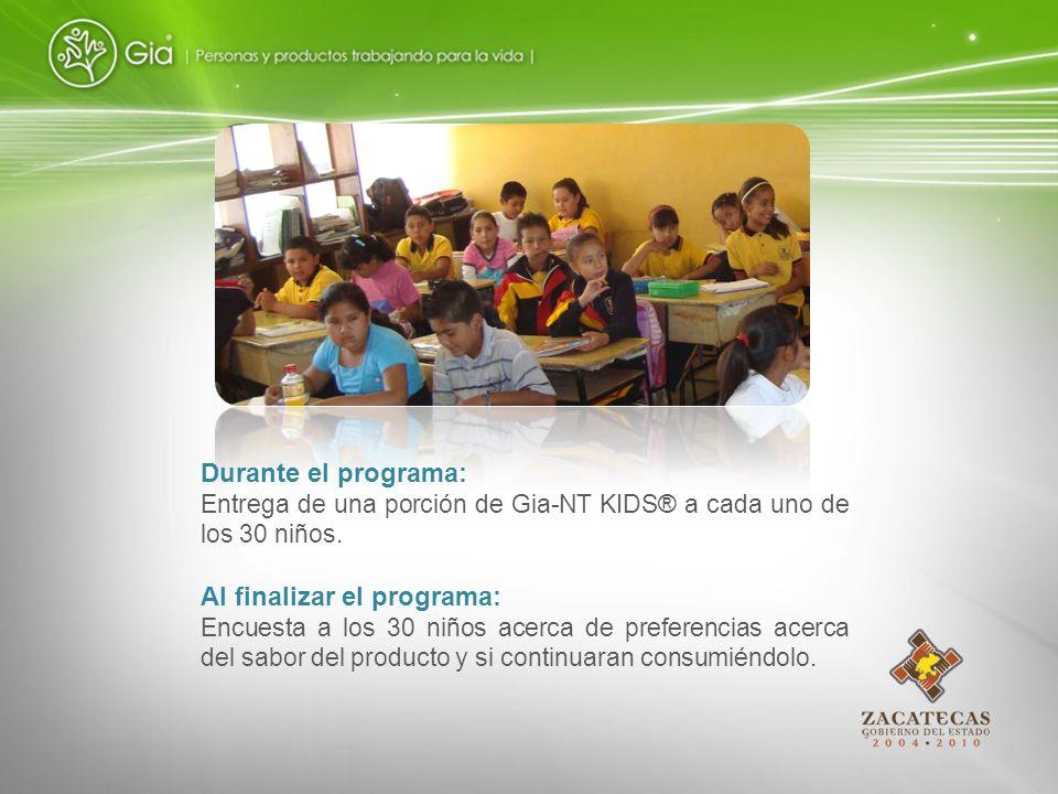Durante el programa: Entrega de una porción de Gia-NT KIDS® a cada uno de los 30 niños. Al finalizar el programa: Encuesta a los 30 niños acerca de pr